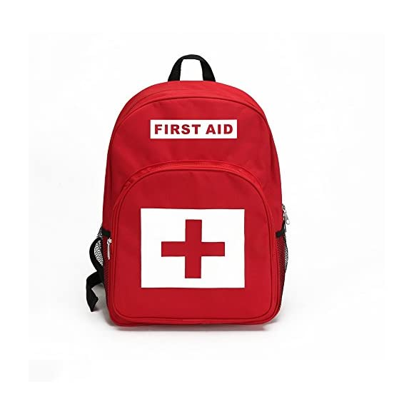 E-FAK Red Backpack for First Aid Kits Pack Emergency Treatment or Hiking, Backpacking, Camping, Travel, Car & Cycling. Perfect for all Outdoor Adventures or be Prepared at Home & Work