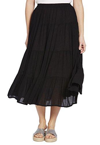 Women's Plus Size Petite Crinkle Skirt Black,26/28 (Solid Crinkle Skirt)