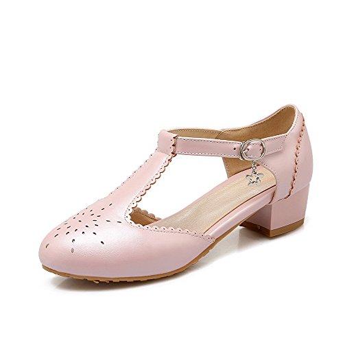Allhqfashion Femmes Talons Bas Boucle Solide Ronde Fermé Orteils Pompes Chaussures Rose