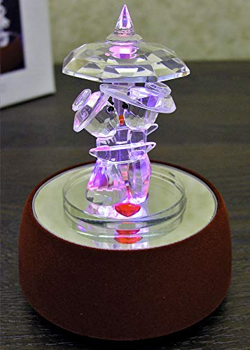 BANBERRY DESIGNS Love Musical Crystal Figurine - A Crystal Couple on a Red Velvet LED Color Changing Base - Plays Lover's Rhapsody