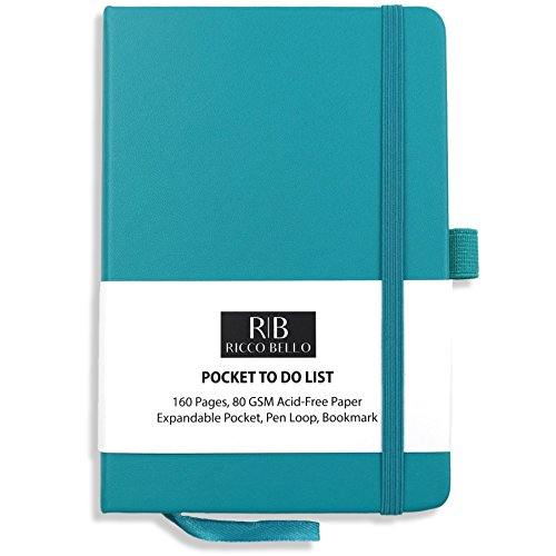 Ricco Bello Pocket to Do Notebook with Pen Loop/Hardcover, Banded, Bookmark, Expandable Pocket / 4.25 x 6 inches (Teal)