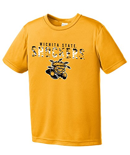 NCAA Youth Boys Digital Camo Mascot Short Sleeve Polyester Competitor T-Shirt, Wichita State Shockers, Gold - Youth ()