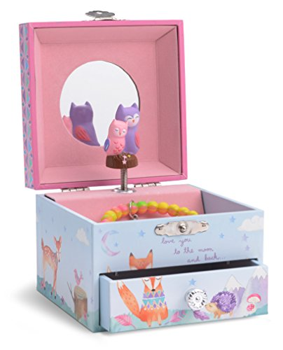JewelKeeper Musical Jewelry Box with Spinning Owls, Woodland Design with Pullout Drawer, Twinkle Twinkle Little Star Tune -