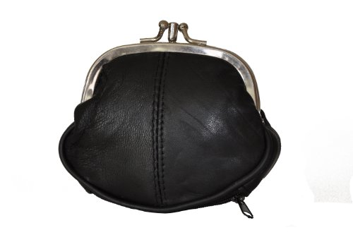 Leatherboss Coin Purse Double Frame with Zipper Pocket - Black S 3.1/2