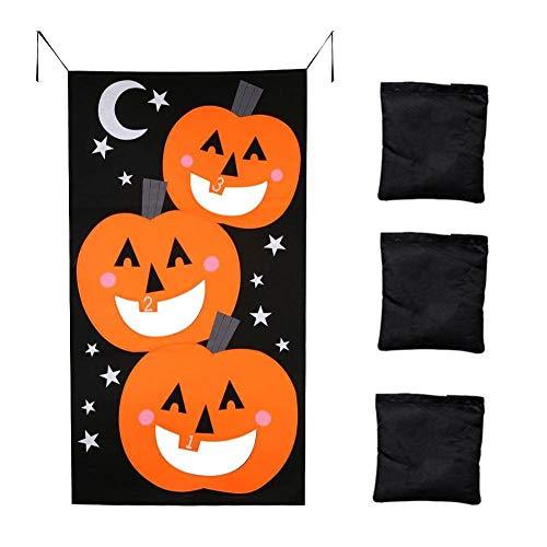 Halloween Pumpkin Bean Bag Toss Games + 3 Bean Bags, Halloween Games for Kids Party Halloween Decorations Pumpkin Ornaments Felt Game Throw Sandbags Banners Halloween Party Decor Funny Props]()
