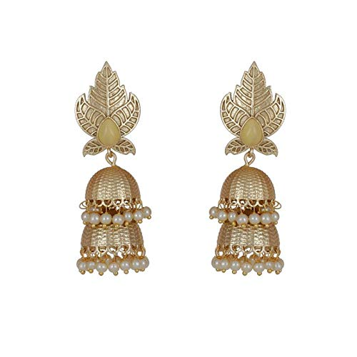 2 Layer Leaf Style Gold White Pearls Earrings for Women /& Girls By Gahnemall