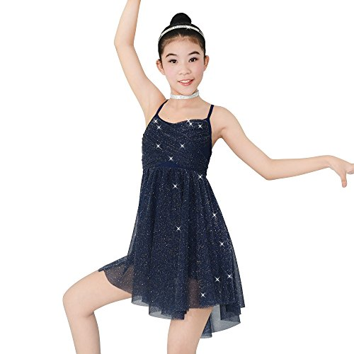 MiDee Lyrical Latin Dress Dance Costume Glitter Camisole Knee-length Skirt For Girls (MC, Navy Blue) - Lyrical Dance Costumes For Competition For Kids