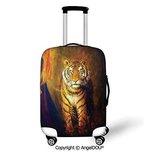 (AngelDOU Durable Elastic Suitcase Luggage Protective Cover Safari Decor Tiger on a Leash and Woman Walking Hand Dark Colors Oil Painting Effect Stripes Trolley Dust Rain Bags Accessories.)