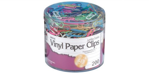 - Charles Leonard Vinyl Coated Paper Clips, Jumbo Size, Assorted Colors, 200/Box (85050)