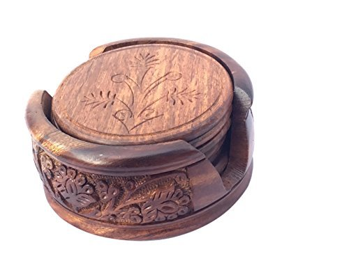 - MOJOPANDA Set of 6 Lotus Shape Beautifully Handcrafted Natural Wood Coasters With Stand
