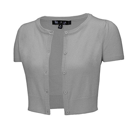 (YEMAK Cap Sleeve Cropped Crewneck Cardigan Sweater Vintage Inspired Pinup CB0536-GRY-L)