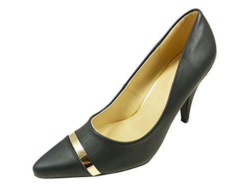Calzado para mujer puntiagudos con hebilla con tacón de fiesta y con ribete, color dorado Negro - negro