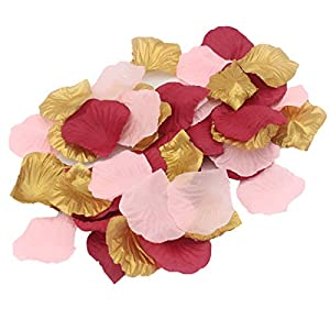 ALLHEARTDESIRES 900 Pack Blush Pink Burgundy Gold Party Confetti Artificial Flower Petals for Wedding Engagement Bachelorette Party Hen Night Bridal Shower Decoration Favor 100