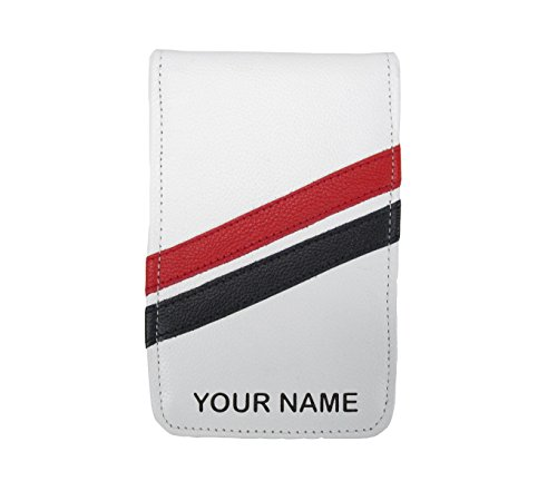 (Sunfish Custom Golf Scorecard and Yardage Book Holder Cover Name Engraved White with Red and Black)