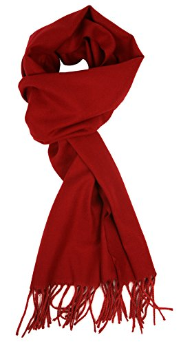 Love Lakeside-Men's Cashmere Feel Winter Solid Color Scarf 00-0 Cranberry Red -