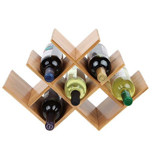 (Lily's Home Countertop Butterfly Shape Bamboo Wood Wine Rack, Elegant and Modern, Table Top Wine Storage Rack for 8 Bottles (Minimum Assembly Required))