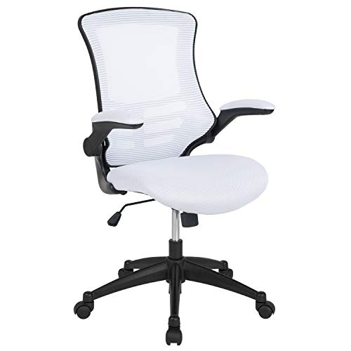 """Flash Furniture BL-X-5M-WH-GG Mid-Back White Mesh Swivel Ergonomic Task Office Chair with Flip-Up Arms 24.5""""W x 25.5""""D x 37.5"""" - 41.25""""H"""