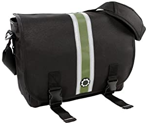 DadGear Messenger Diaper Bag - Green Center Stripe by DadGear