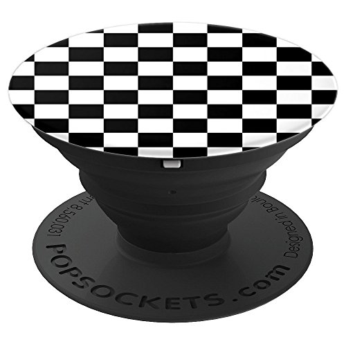 (Checkered Black And White | Chess Racing Flag Pattern - PopSockets Grip and Stand for Phones and Tablets)