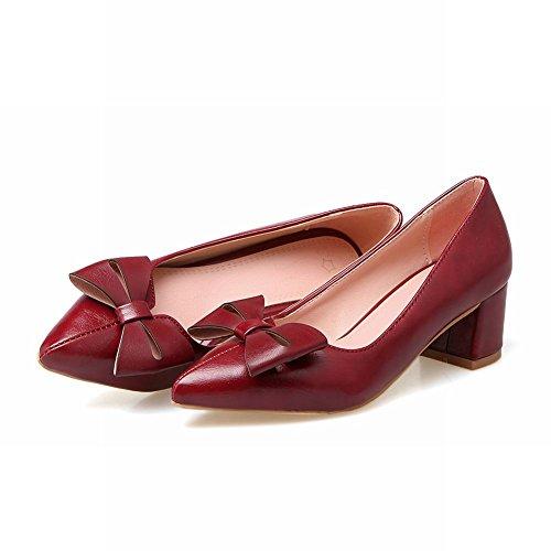 Mee Shoes Women's Sweet Block Heel Bow Upper Slip On Court Shoes Red q41nSfH20K