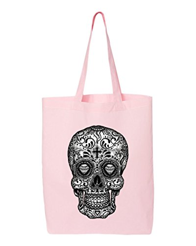 Shop4Ever Skull Black & White Cotton Tote Day of the Dead Reusable Shopping Bag 6 oz Light Pink 1 Pack Eco