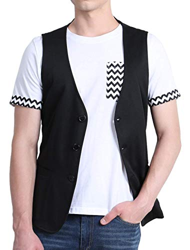Homme Vêtements Couleur De Col Avec Saoye Fashion Gilet En Unie V qvwnx1zH