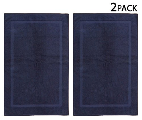 Cotton Craft - 2 Pack Bath Mat - Indigo (Night Sky) - 100% Ringspun Cotton Tub Mat 21x34 - Oversized 21x34 Heavy Weight 1000 Grams - 2 Ply Construction - Highly Absorbent - Easy Care Machine Wash