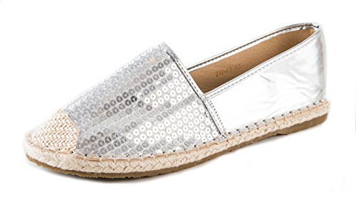 - Aisun Women's Sparkly Sequins Cap Toe Low Cut Driving Slip-on Espadrilles Flats Shoes (Silver, 8 B(M) US)