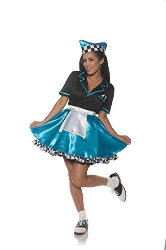 50s Car Hop Costume (Underwraps Women's 1950s Car Hop Costume-Turquoise, Blue,)