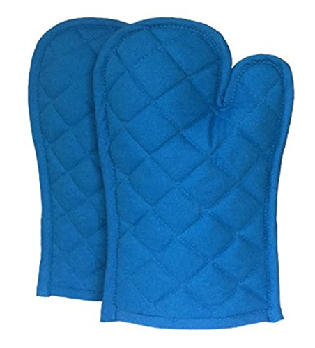 1 Pair Lushomes Cotton Royal Blue Oven Mitten 8 x 13 Inches
