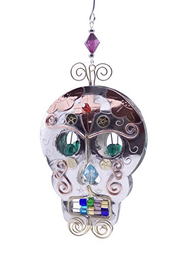 Sugar Skull Bronze Nickel and Copper Hanging Ornament Garden Planter Handmade Gift Boxed]()