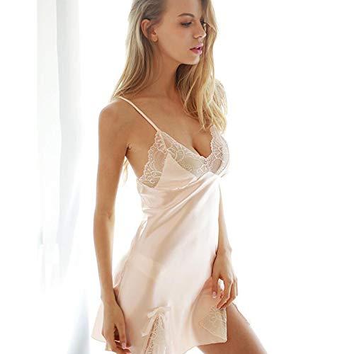Sleeve Nightdresses Donna Da Silk Short Pigiama Lace Robe Champagne Sets Sling Sexy Summer Backless Homewear pYRxCp8wq