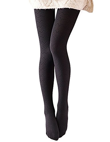 (VERO MONTE 1 Pair Knit Pattern Tights Tummy Control Leggings High Waist (BLACK))