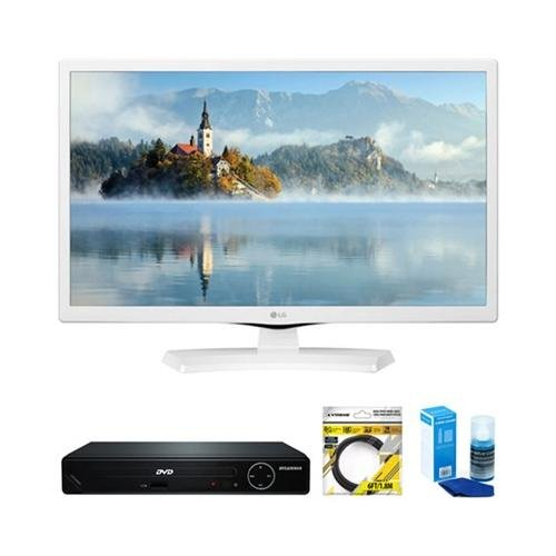 "LG 24"" HD LED TV White 2017 Model  with Sylvania HDMI HD DVD"