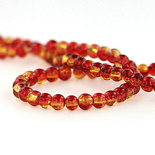 - Pendant Jewelry Making for Bracelets and Chains 200 Crackle Glass Beads - Red/Orange & Yellow - 4mm - 1 Strand - BD723