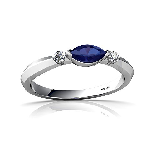 14kt White Gold Lab Sapphire and Diamond 6x3mm Marquise Art Deco Ring - Size 4 ()