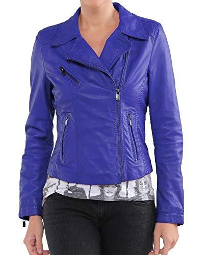 (Womens Leather Jacket Motorcycle Bomber Biker Real Lambskin Leather Jacket for Women Blue Jacket)