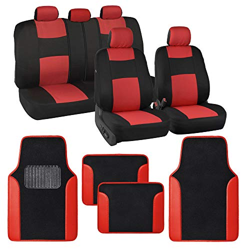 BDK Combo Two Tone Fresh Design Matching All Protective Car Seat Covers (2 Front 1 Bench) with Heavy Protection Sleek Graphic Auto Carpet Floor Mats (4 Set) - Red Accent