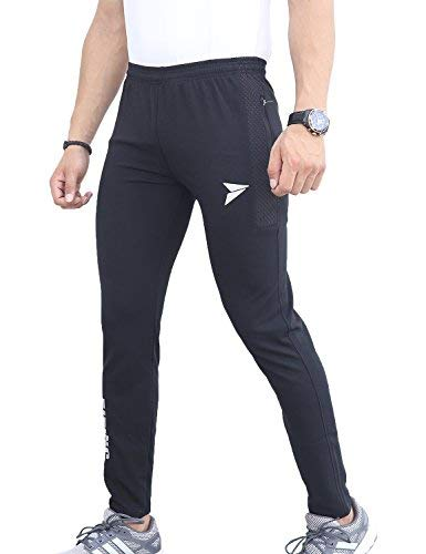 Fitinc Dobby Lycra Trackpant for Men with Two Side Zipper Pockets – Stretchable, Comfortable & Absorbent Slim Fit Track Pants for Gym Workout and Casual Wear