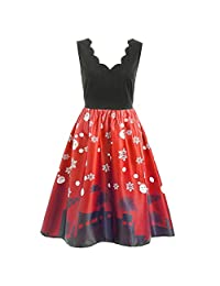 FarJing Christmas Dresses for Women, Cats Print Vintage Evening Party Flare Dress