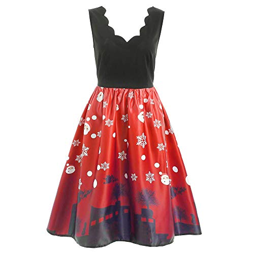 iSkylie Women 1950s Retro Cocktail Swing Party Dress Sleeveless Santa Claus Printed Vintage Evening Party Dress Flare Dress(XXL,Red)