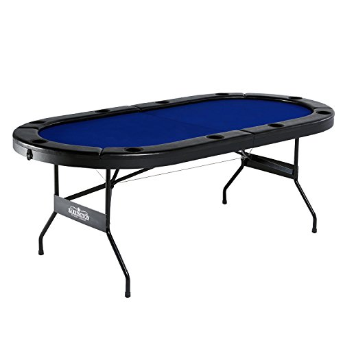 Barrington Texas Holdem Poker Table for 10 Players w/ Padded Rails & Cup Holders by Lancaster Gaming Company