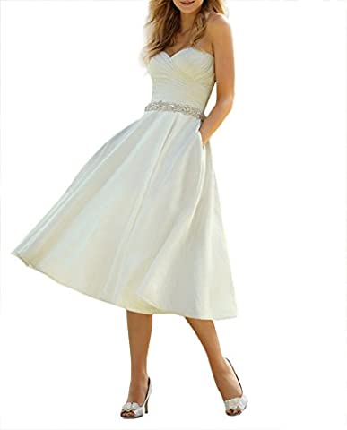 Amore Bridal Women's Beaded Satin Tea Length Wedding Dresses With Pockets Ivory A, 18W - Length Beaded Satin