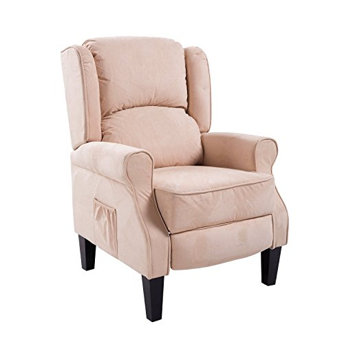 HomCom Heated Vibrating Suede Massage Recliner - Cream White
