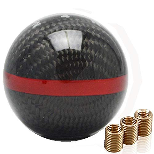 Mugen Carbon Fiber 6 Speed Shift Knob with Red Stripe For Honda/Acura