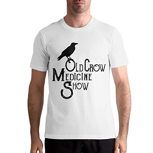AngeloCaroline Old Crow Medicine Show Men Casual T Shirt Cotton Short Sleeve Tops XL White (Old Crow Medicine Show Wagon Wheel T Shirt)
