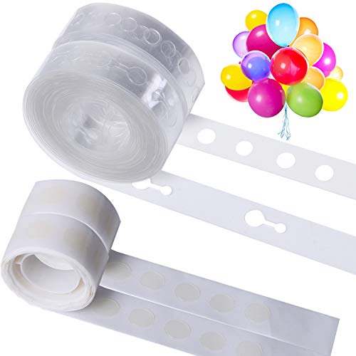 LOCOLO 52 Ft Single hole and 52 Ft Double hole Garland Decorating Strip Tape, Balloon Glue Point 200 PCS, Balloon Arch Garland Decorating Strip Kit Wedding and Party Decorations (4 Rolls)