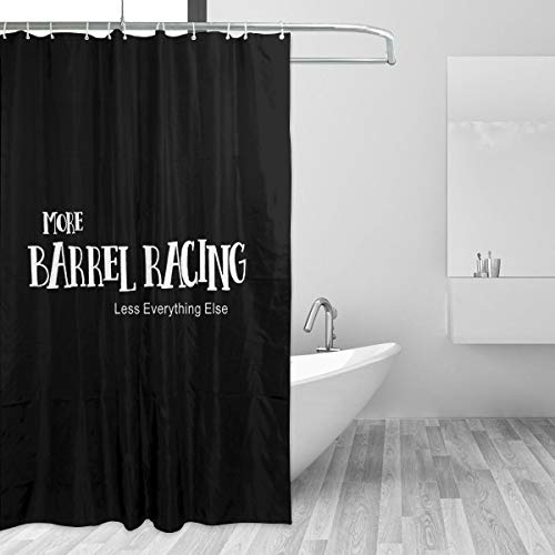 Warm-Tone Art More Barrel Racing Less Everything Else Shower Curtain Stylish and Individual Bathroom Curtain Decoration with Hooks - 60x72 Inches