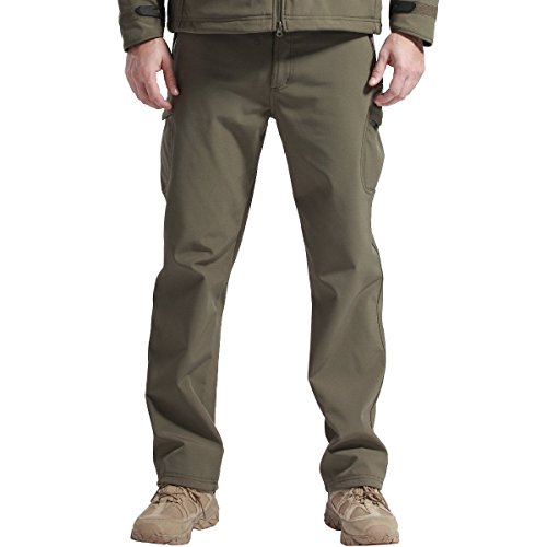 FREE SOLDIER Men's Outdoor Water Repellent Windproof Softshell Fleece Lined Cargo Snow Hiking Pants (Army Green 40W/32L XX-Large)