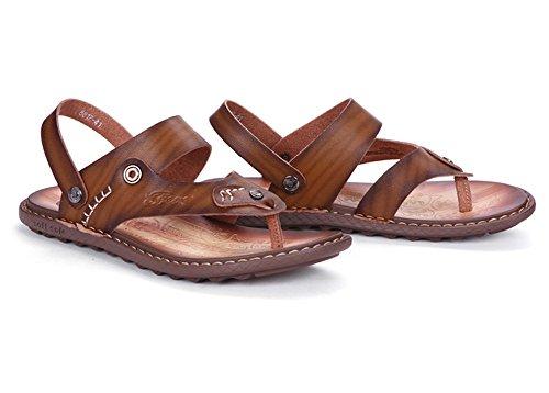 Open Flops Sandals Toe Khaki Mens amp;W Flip Ankle Strap H Leather wB7xqXW1
